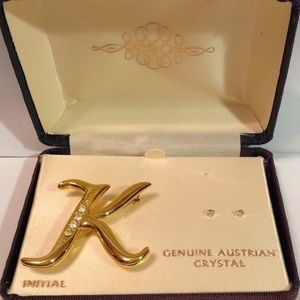 Austrian Crystal Initial K Pin set with Earrings